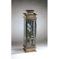 Empire 1 Light 19 inch Dark Antique Brass Outdoor Wall Lantern in Clear Seedy Glass, Antique Mirror